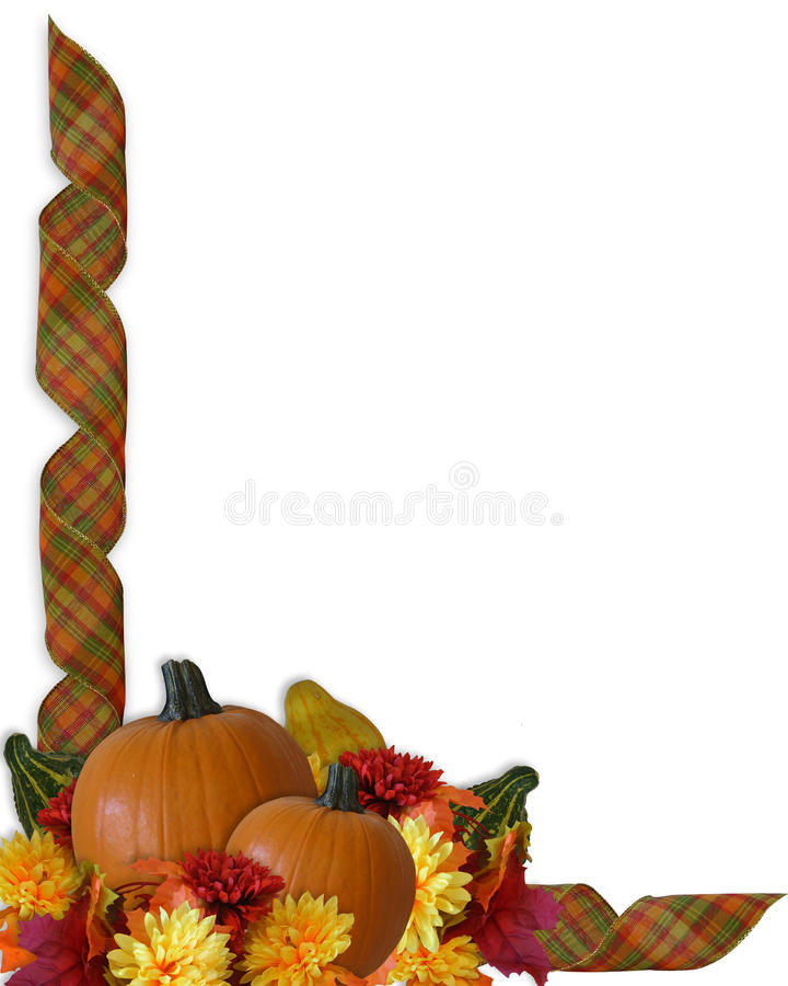 Free Thanksgiving Autumn Fall Ribbons Border Stock Image - 11032361