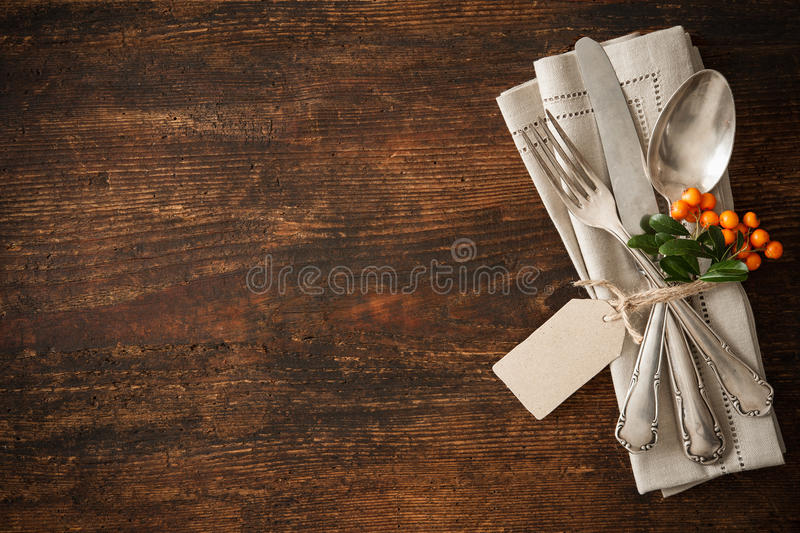 Thanksgiving autumn place setting. With cutlery royalty free stock images