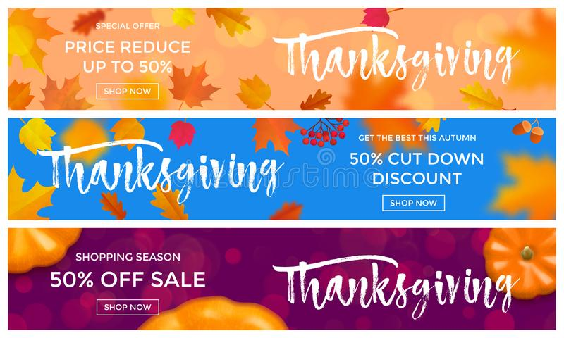 Thanksgiving autumn sale poster fall discount promo offer vector leaf pumpkin banners vector illustration