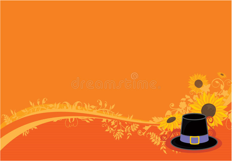 Thanksgiving background. With sunflowers and native hat