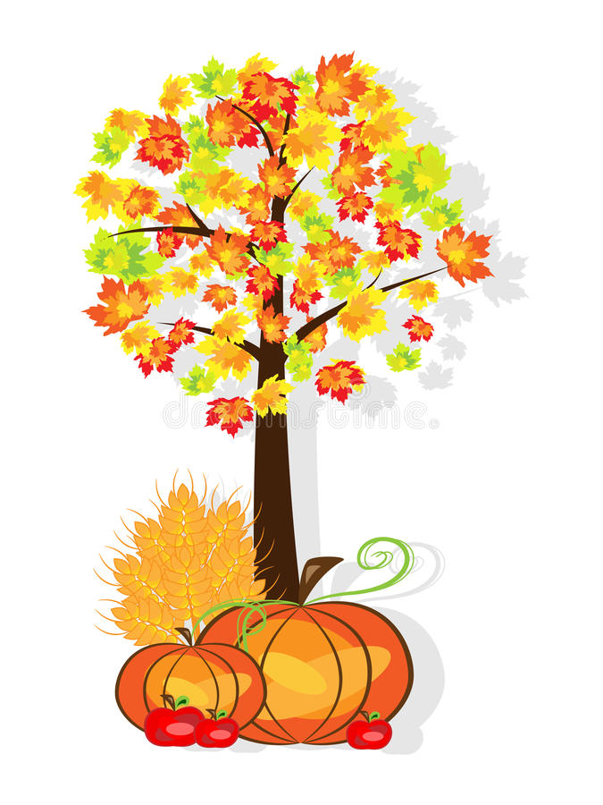Thanksgiving background. Vector picture of thanksgiving background with pumpkins, crop, apples and tree. RGB