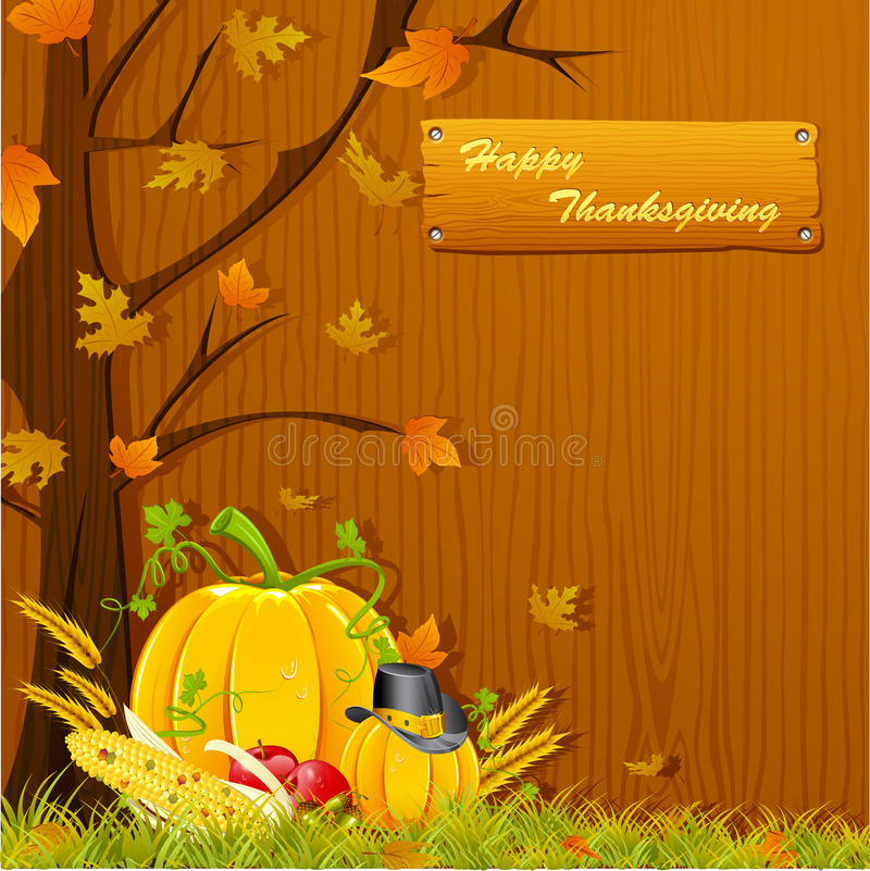 Thanksgiving Background. Illustration of autumn tree with pumpkin for thanksgiving