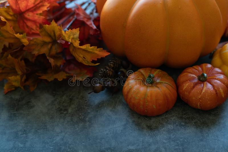 Thanksgiving background with pumpkins, flowers and scarecrow on a grey cement background. Copy space for your text stock image