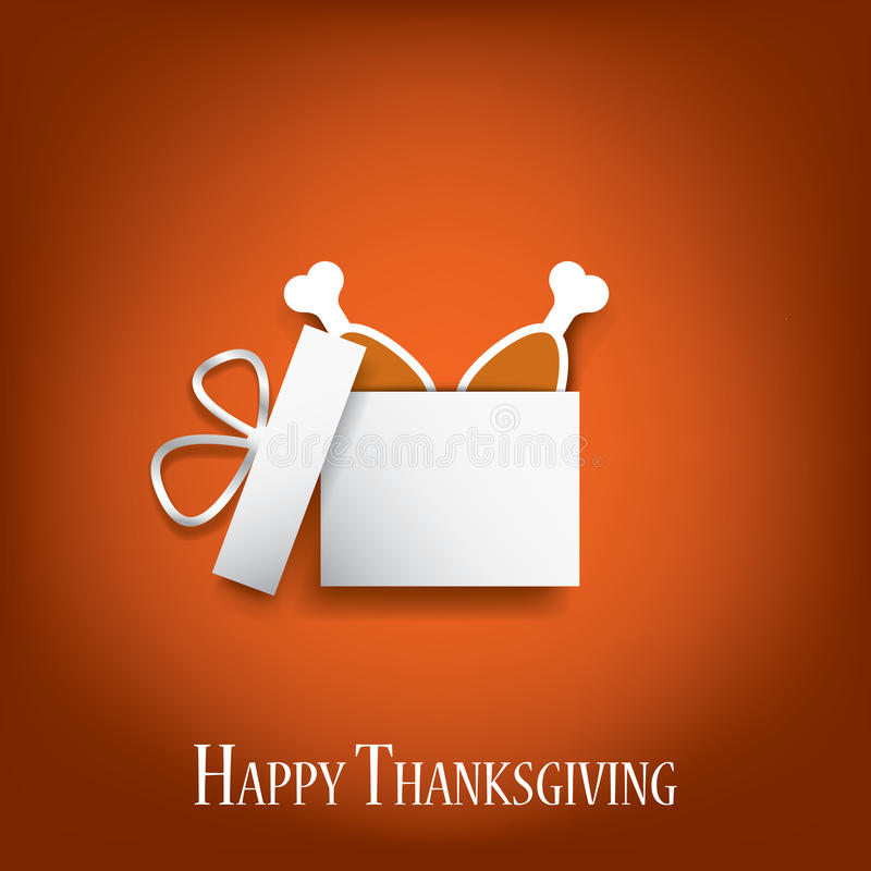 Thanksgiving background with turkey legs in a gift stock illustration