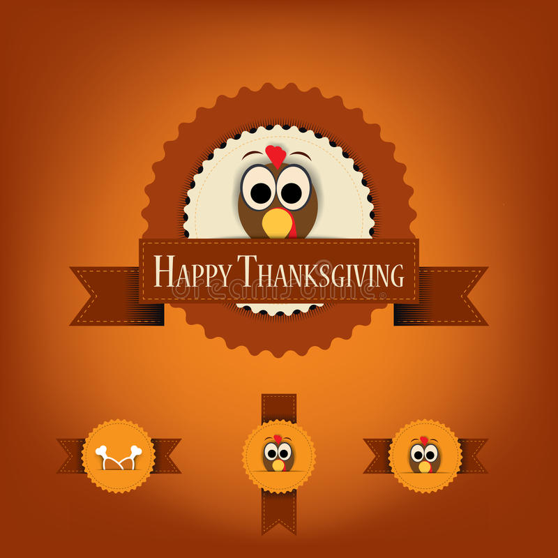 Thanksgiving badges with ribbons and turkey. stock illustration