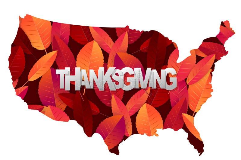 Thanksgiving banner Vormgeving van het vasteland van de VS Rood- en oranje valbladeren op zwarte en witte achtergrond realistisch stock illustratie