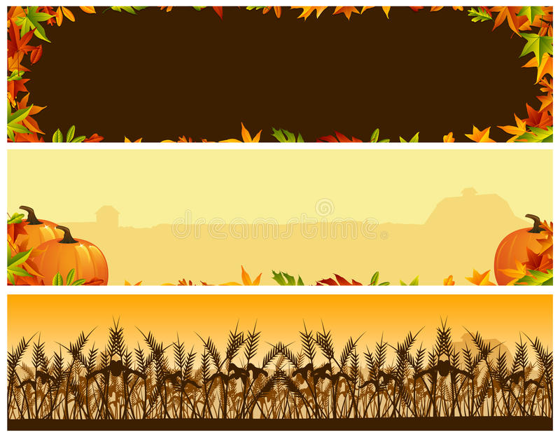 Thanksgiving Banners. A thanksgiving banner set of three vector illustration