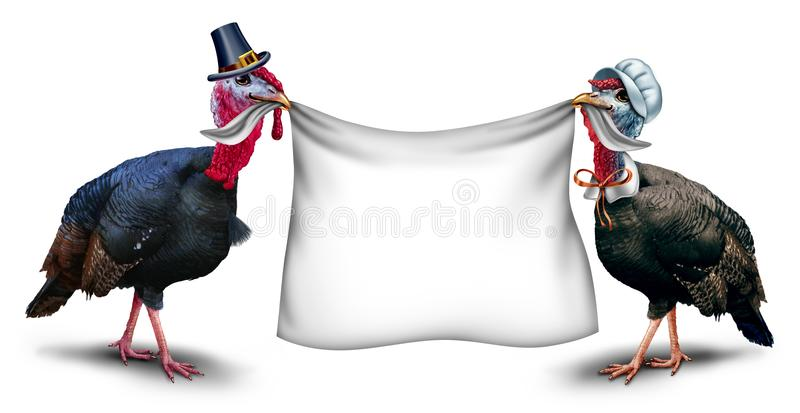 Thanksgiving Blank Sign. As a gobbler and hen turkey holding a white banner with 3D illustration elements vector illustration