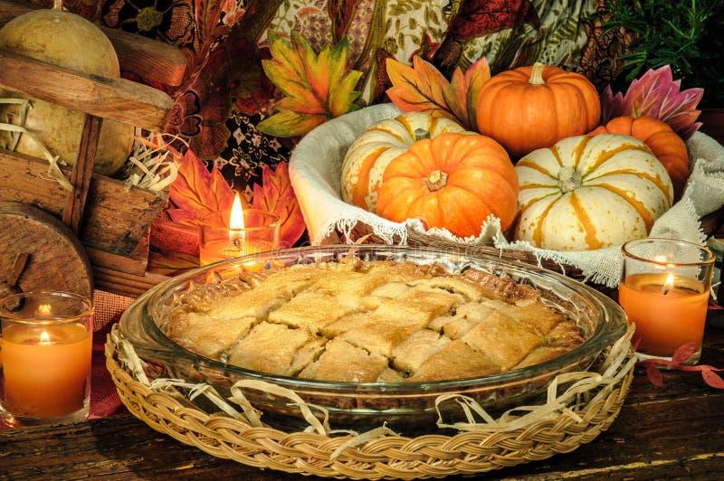 Thanksgiving Blessing Celebrating, Apple Pie, Pumpkins, Leaves stock image