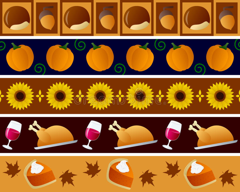 Thanksgiving Borders Set. Set of five Thanksgiving Day seamless borders, useful as design elements or banners. Eps file available royalty free illustration