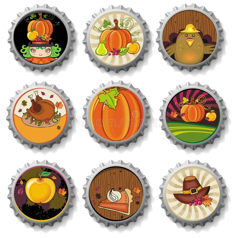 Thanksgiving bottle caps stock illustration