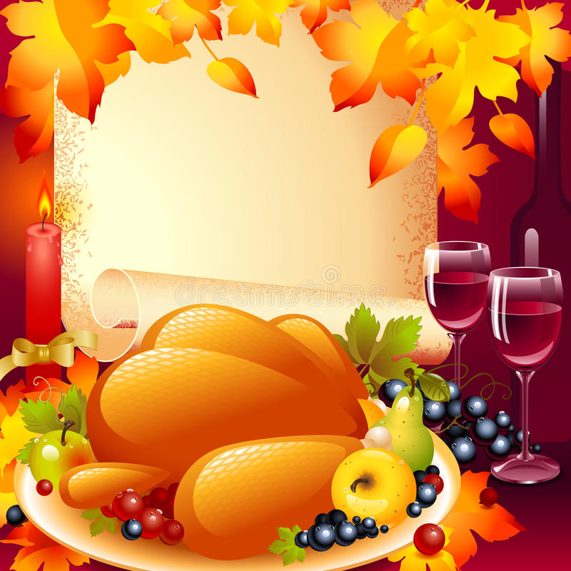 Thanksgiving card. background with turkey. The composition of fruits and wine glass in the background of the old roll of paper and a candle with a bow on top