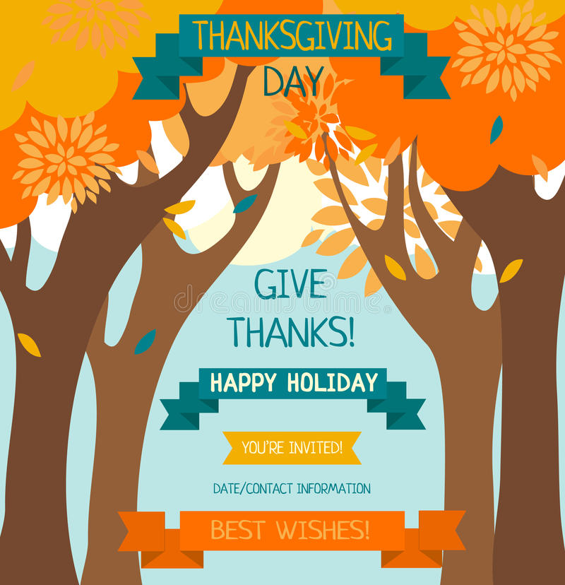 Thanksgiving card template stock illustration