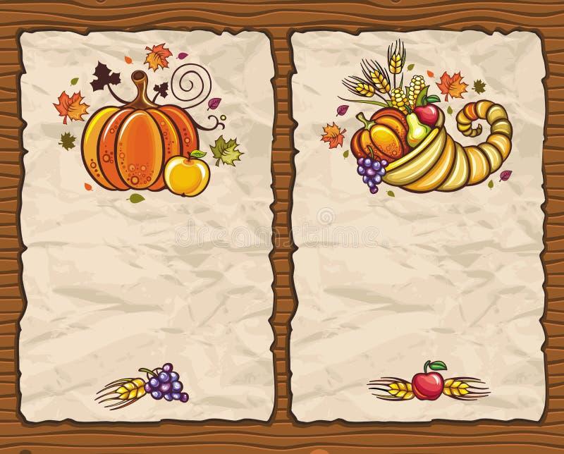 Thanksgiving cards 1 royalty free illustration