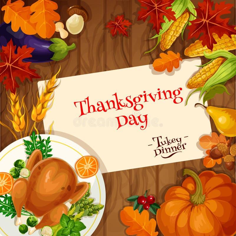thanksgiving Carte d'invitation de dîner de la Turquie illustration libre de droits