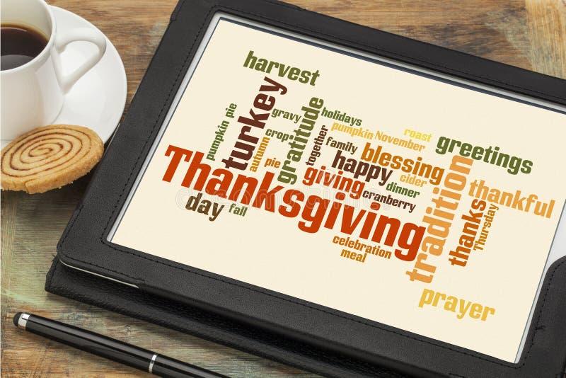 Thanksgiving celebration cloud word stock photo