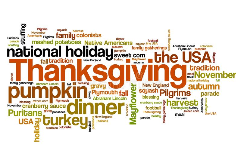 Thanksgiving. Celebration issues and concepts word cloud illustration. Word collage concept vector illustration