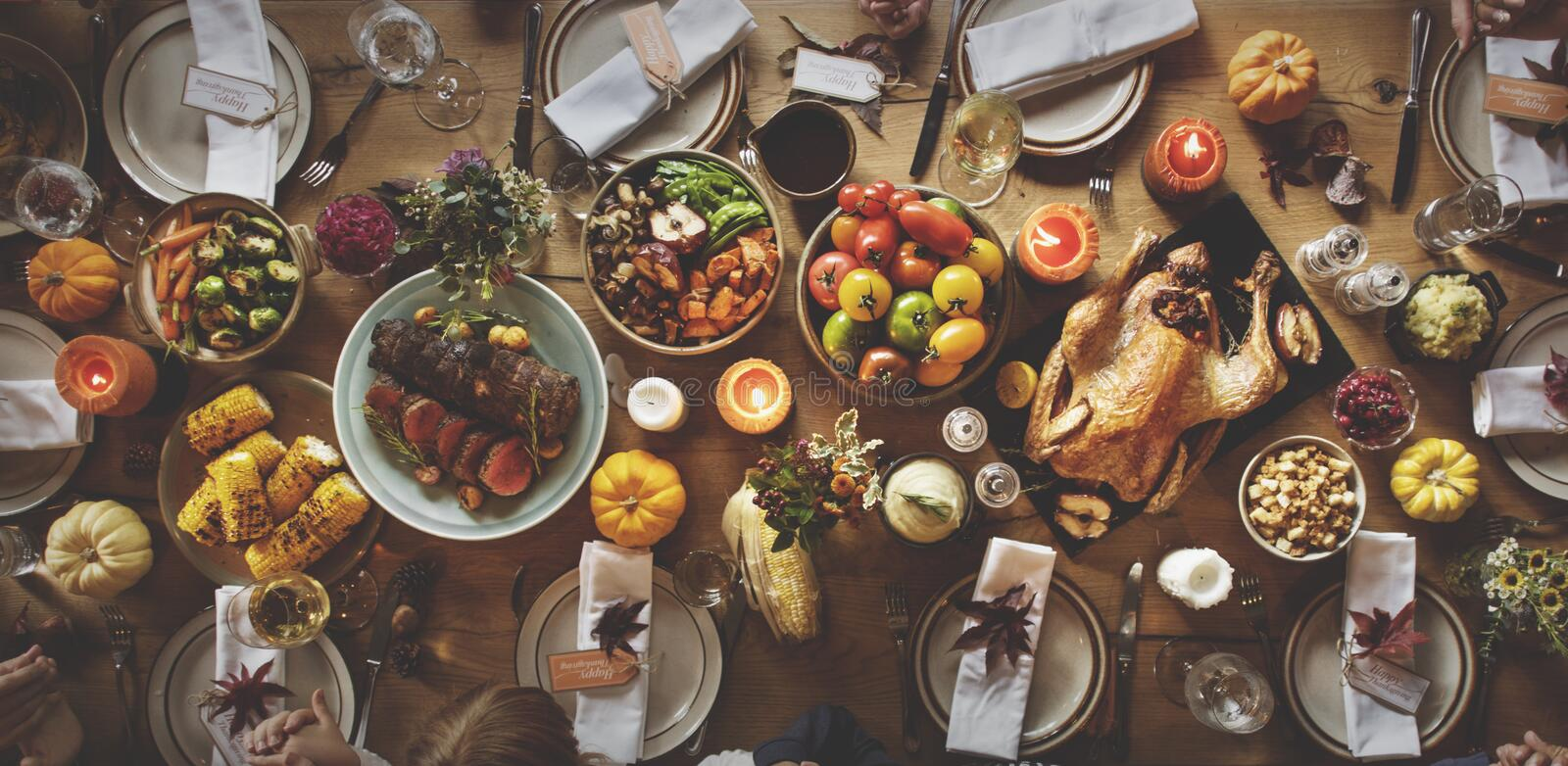 Thanksgiving Celebration Table Setting Concept.  stock photography