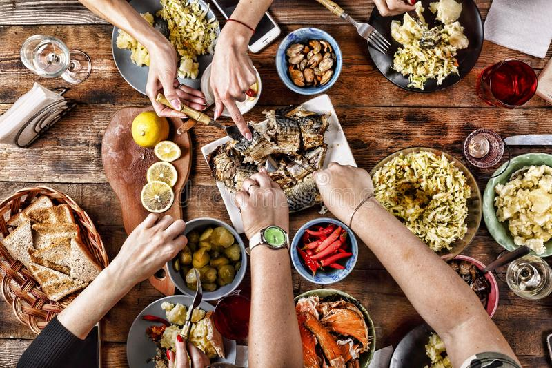 Thanksgiving Celebration Traditional Dinner Setting Food Concept. Close up. top veiw stock photography