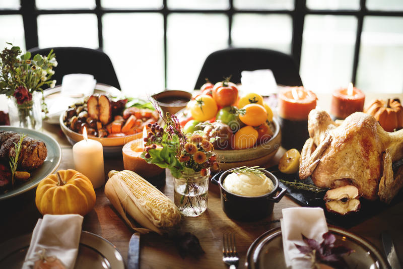 Thanksgiving Celebration Traditional Dinner Table Setting Concept.  stock photos