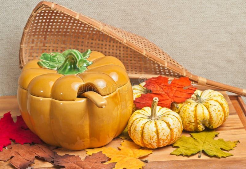 Thanksgiving ceramic soup bowl stock photos