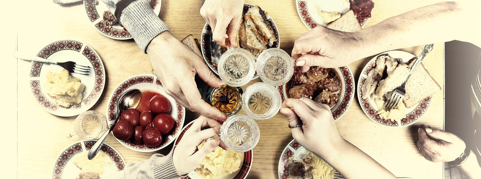 Thanksgiving, Christmas. A gala dinner with family. royalty free stock photography