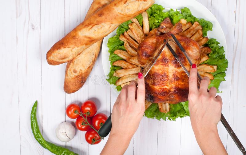 Thanksgiving or Christmas. Homemade roasted whole turkey on wooden table. Thanksgiving Celebration Traditional Dinner Setting. Food Concept royalty free stock photo