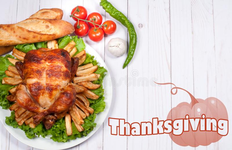 Thanksgiving or Christmas. Homemade roasted whole turkey on wooden table. Thanksgiving Celebration Traditional Dinner Setting. Food Concept stock images