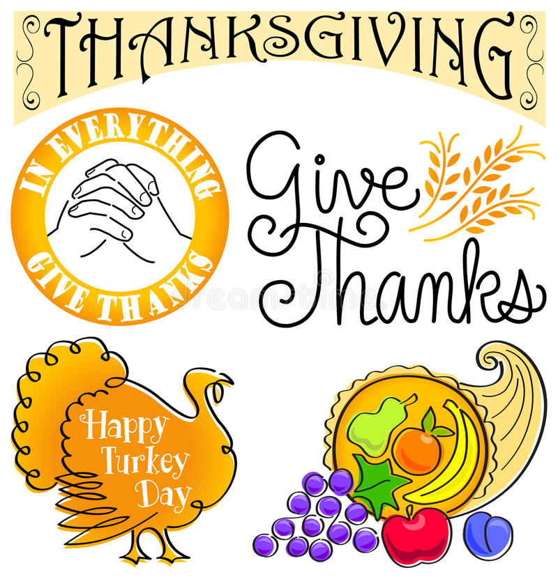 Thanksgiving Clip Art Set/eps. Illustrated headlines and art clips for Thanksgiving royalty free illustration
