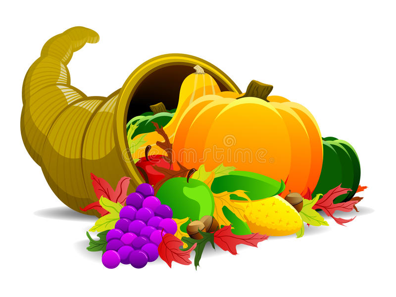 Thanksgiving Cornucopia. Illustration of a cornucopia harvest often associated with the holiday of thanksgiving