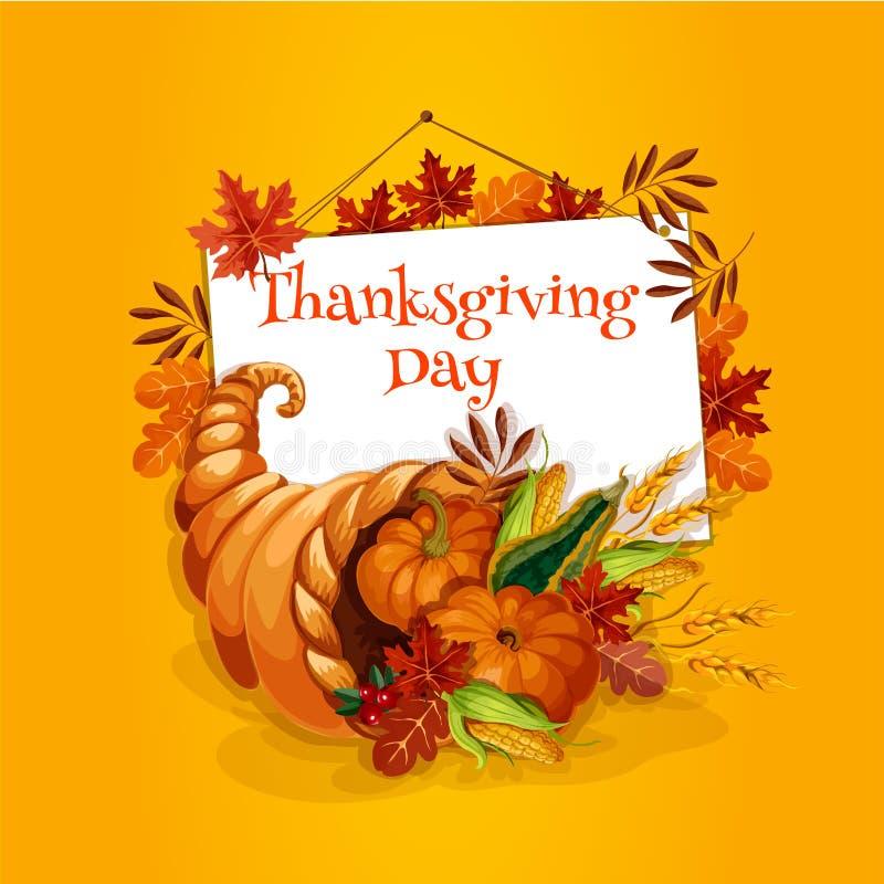 Thanksgiving cornucopia plenty horn greeting card royalty free illustration