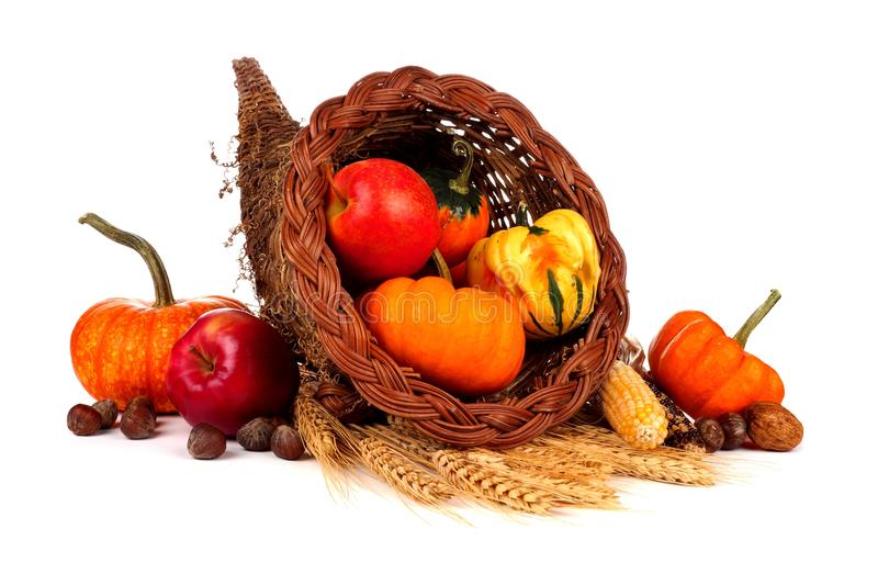 Thanksgiving cornucopia with pumpkins, apples and gourds isolated on white royalty free stock photography