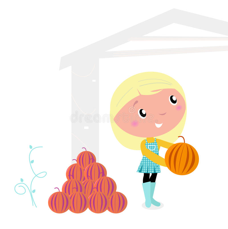 Download Thanksgiving Cute Child With Pumpkin Heads. Stock Vector - Image: 21252454