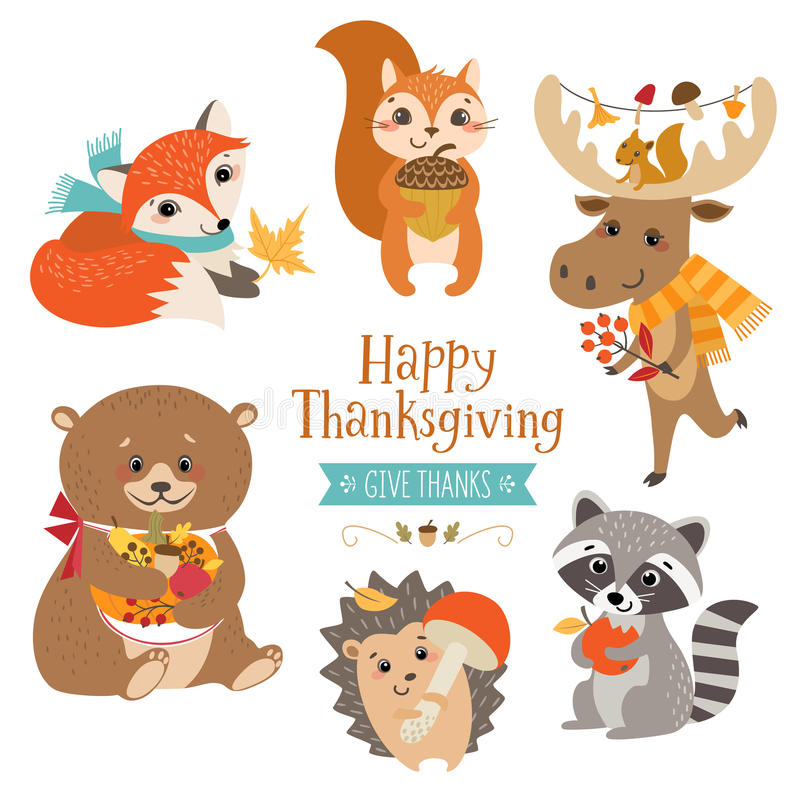 Thanksgiving cute forest animals royalty free illustration