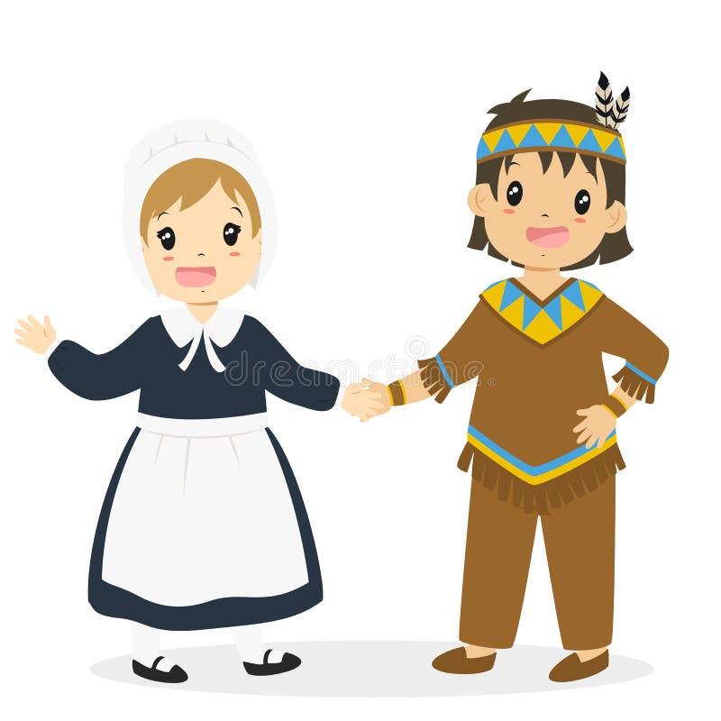 Download Native American Boy And Pilgrim Girl Cartoon Vector Stock