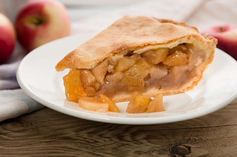 Thanksgiving day Apple pie on a plate stock photography