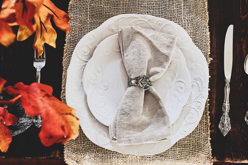 Thanksgiving Place Setting on Farmhouse Table stock image