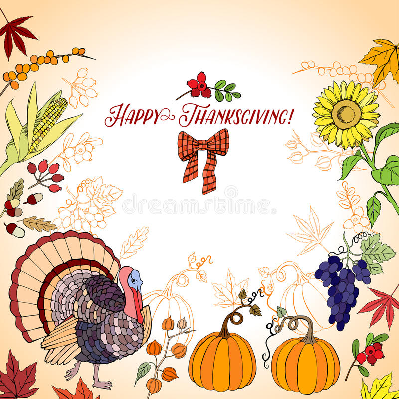 Thanksgiving. Day. Background with hand drawn elements. Vector Illustration royalty free illustration