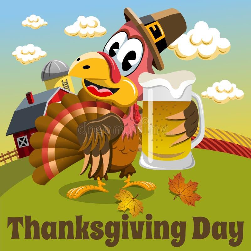 Thanksgiving day background pilgrim turkey holding beer mug. Thanksgiving day background square pilgrim turkey holding beer mug in the countryside royalty free illustration