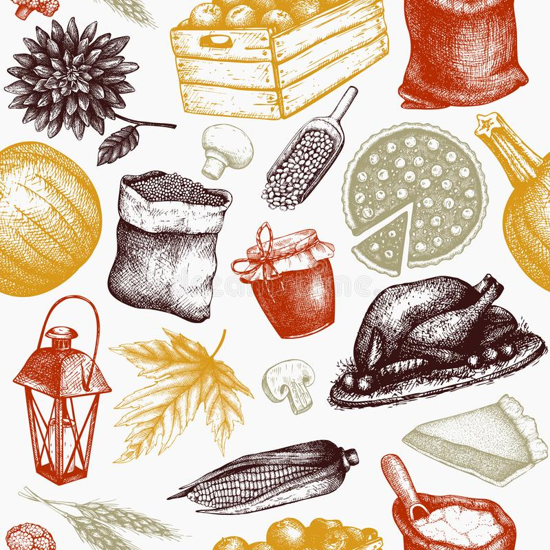 Thanksgiving Day background. Vector seamless pattern with hand drawn traditional food illustrations. Family dinner elements. Vinta stock illustration
