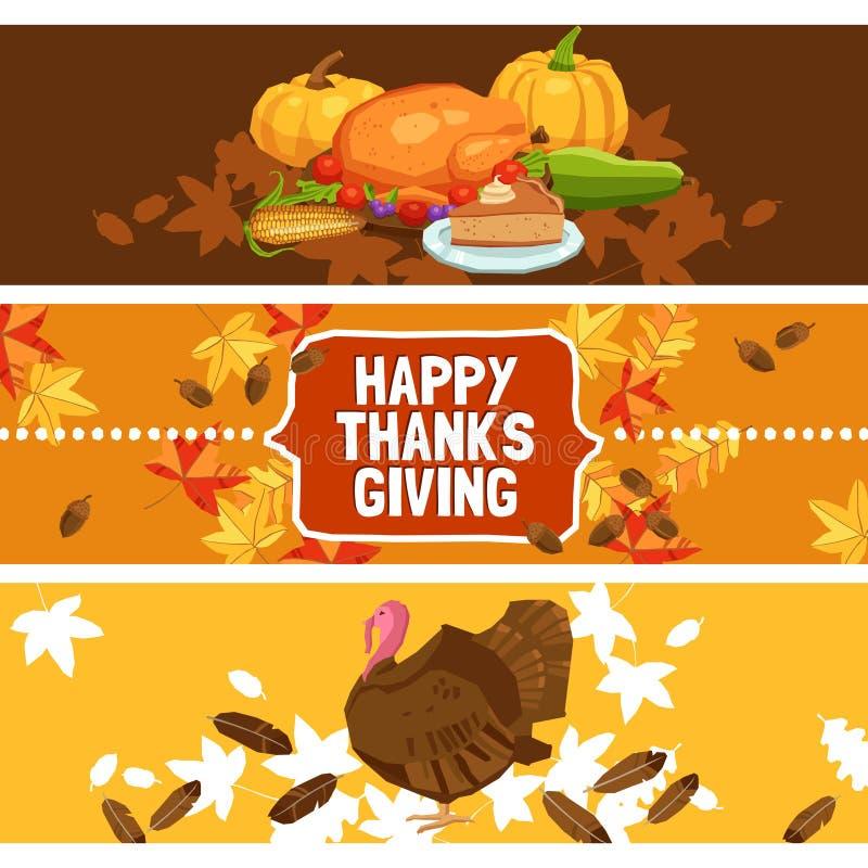 Thanksgiving Day Banner Set royalty free illustration