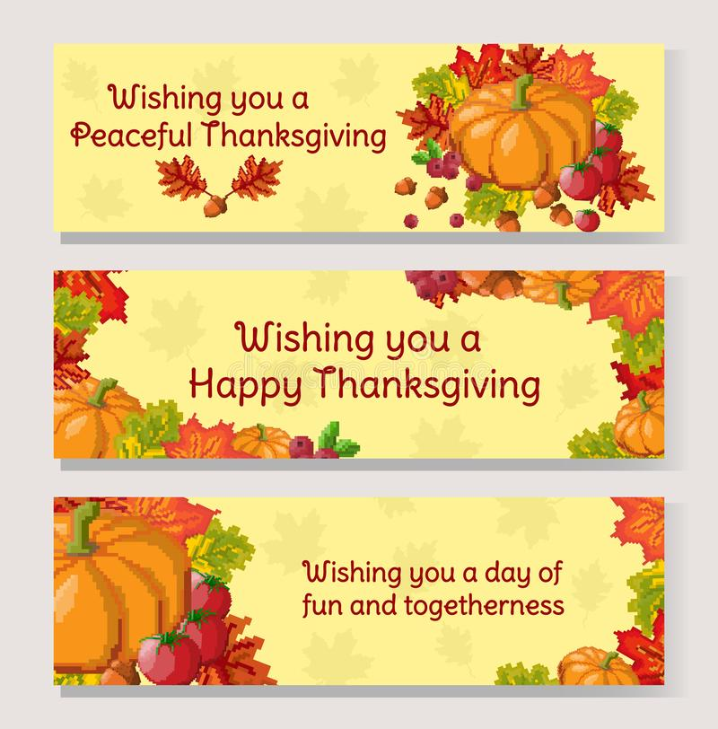 Thanksgiving Day banner set. Pixel art autumn composition with foliage and vegetables vector illustration