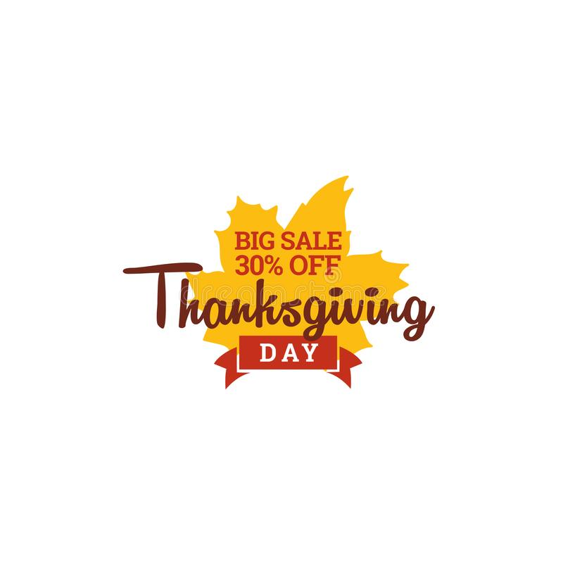 Thanksgiving day big sale. 30% off typography with autumn fall dry leaf vector illustration. Element for online shop web, banner, poster, flyer design royalty free illustration