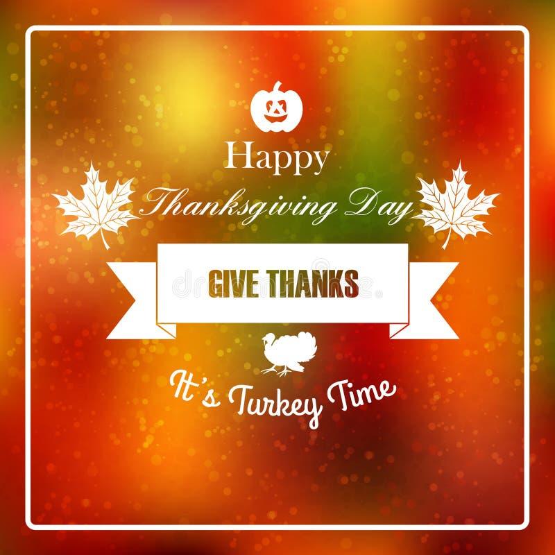 Thanksgiving day blurred background. Vector typography design Thanksgiving Day mark with blurred autumn background