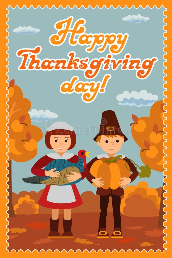 Thanksgiving Day Card With Congratulations Children Pumpkin And ...