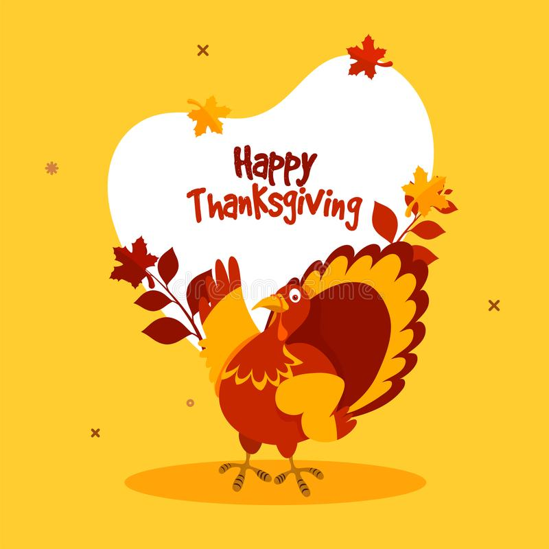 Happy Thanksgiving Day concept with turkey bird. vector illustration