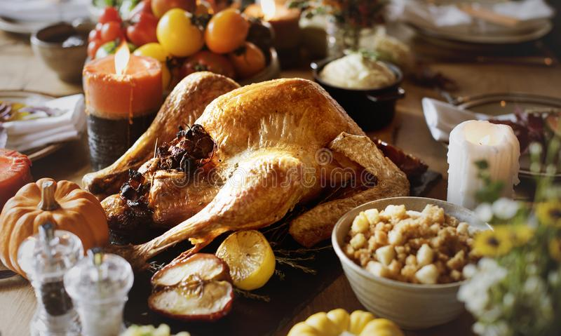 Thanksgiving day celebration food table.  royalty free stock image
