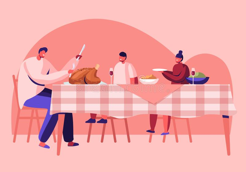Thanksgiving Day Celebration, Happy Family Dad and Kids Sitting at Table with Festive Food Drinks, Father Cutting Roasted Turkey vector illustration