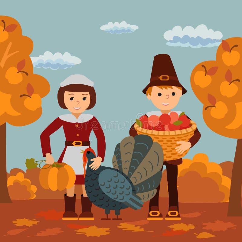 Thanksgiving Day Children Apples And Turkey Vector Illustration. Boy ...