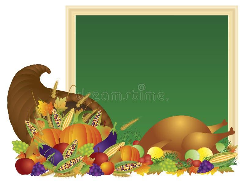Thanksgiving Day Cornucopia and Turkey Chalkboard Illustration royalty free illustration